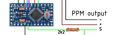 Bain page: PWM to PPM converter for the Flysky R6B receiver